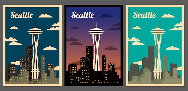 Panoramę Miasta Seattle. Miasto Retro Plakat Premium Wektorów
