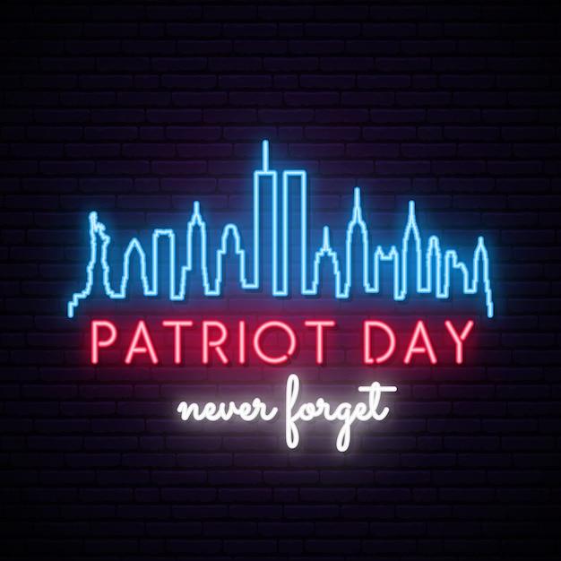 Panoramę Nowego Jorku Z Twin Towers W Neonowym Stylu. Dzień Patrioty. Premium Wektorów