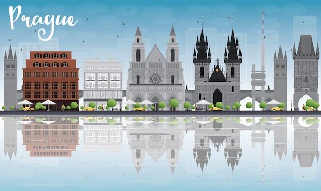 Panoramę Pragi Z Szarymi Zabytkami, Błękitne Niebo I Refleksje Premium Wektorów