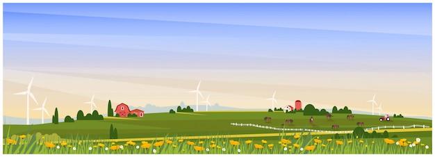 Panoramiczna wektorowa ilustracja wiejska wieś z domem wiejskim, końskim rancho i turbiną wiatrową na wiosnę. piękny płaski projekt gospodarstwa lub rolnictwa z makiem i dzikim kwiatem. koncepcja gospodarstwa organicznego Premium Wektorów