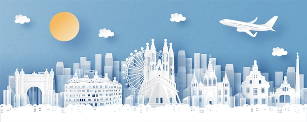 Panoramiczny widok na panoramę hiszpanii i miasta ze słynnymi zabytkami Premium Wektorów
