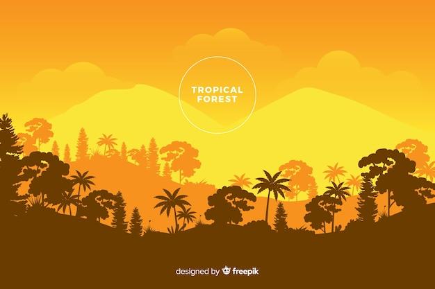 Panoramiczny widok pięknego lasu tropikalnego w pomarańczowych odcieniach Darmowych Wektorów