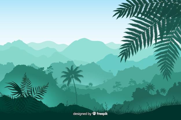 Panoramiczny widok z liści i drzew tropikalnych Darmowych Wektorów