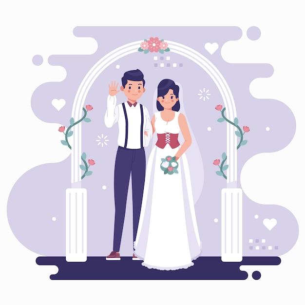 Państwo Młodzi Biorą ślub Darmowych Wektorów