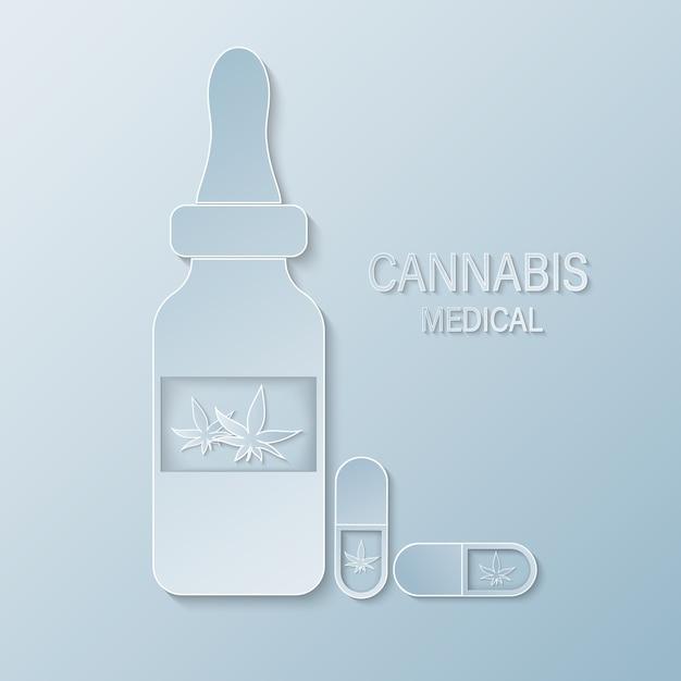 Papercut butelka medyczna z etykietą marihuany lub liścia konopi. wyciągi z konopi indyjskich w słoikach Premium Wektorów