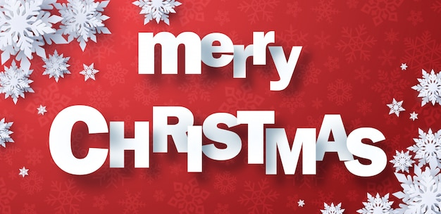 Papercut wesołych świąt z płatkiem śniegu Premium Wektorów