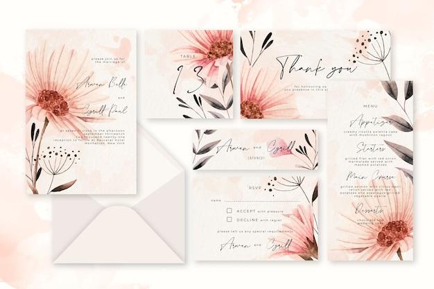 Papeteria ślubna w pastelowe kwiaty w proszku Darmowych Wektorów