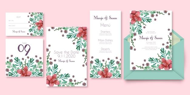 Papeteria ślubna z kwiatowym wzorem w różowych odcieniach Darmowych Wektorów