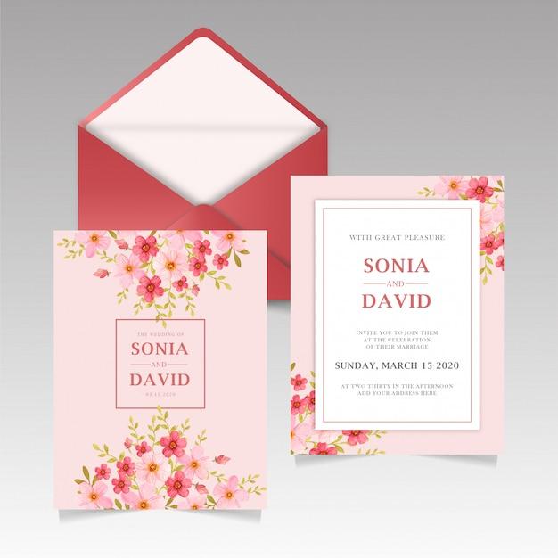 Papeteria zaproszenie na ślub czerwona róża Premium Wektorów