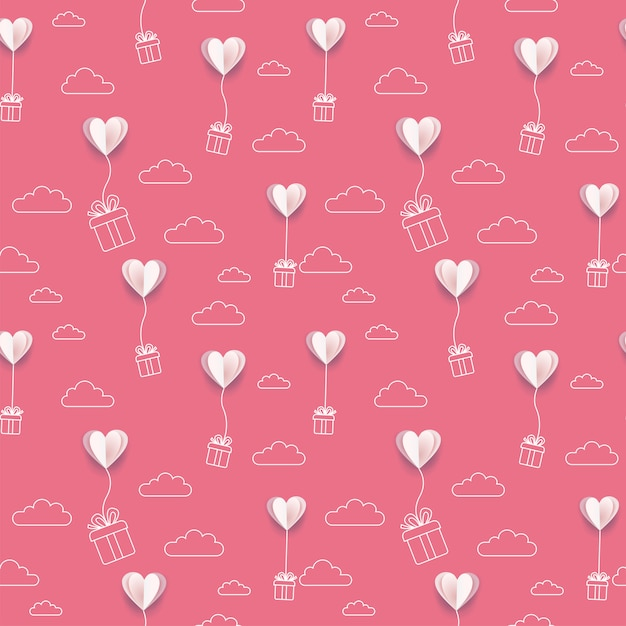 Papier Walentynkowy Położył Serca Balony Z Linii Pola Prezent I Sztuka Tło Chmury Premium Wektorów