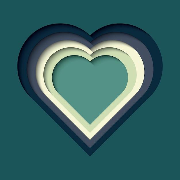 Papier wyciąć tło z efektem 3d, kształt serca w żywych kolorach Premium Wektorów