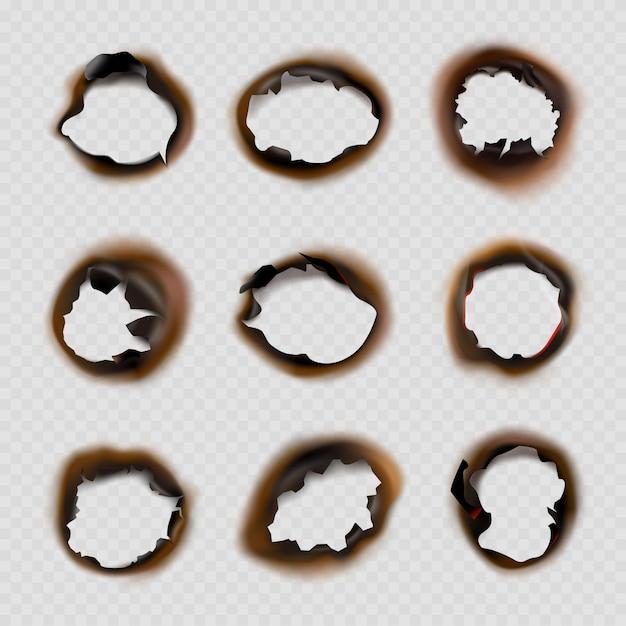Papier Z Wypalonymi Dziurami. Projekty Grunge Kół Uszkodzonych Przez Ogień Kształtują Zdjęcia Wektorowe Premium Wektorów