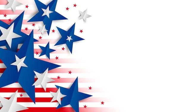 Papierowa gwiazda na białym tle z kopii przestrzenią dzień niepodległości i wakacyjny sztandar Premium Wektorów