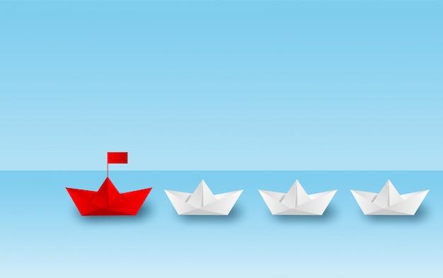 Papierowa łódź Czerwony Przywództwo Iść Do Celu Sukcesu. Premium Wektorów