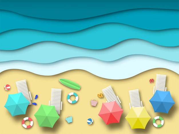 Papierowa Plaża Morska. Letni Krajobraz Wakacyjny Z Piaskiem, Oceanem I Słońcem, Letni Relaks 3d Origami. Tło Wektor Sztuki Papieru Premium Wektorów