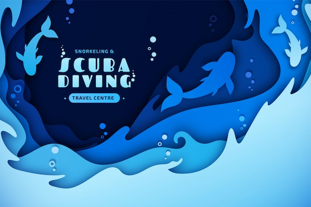 Papierowa Sztuka Nurkowania, Snurkowania, życia Morskiego. Wielowarstwowa Sztuka Papieru Z Falami Morskimi, Rybami I Bąbelkami Wody Premium Wektorów