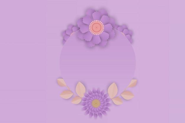 Papierowa Sztuka Purpurowy Kwiat Na Ramowym Tle Premium Wektorów