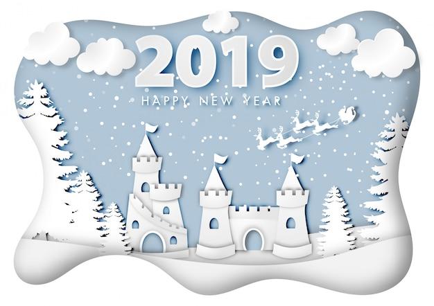 Papierowa Sztuka Szczęśliwego Nowego Roku 2019 Festiwal Premium Wektorów