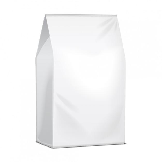 Papierowa Torba Na żywność Zawierająca Kawę, Sól, Cukier, Pieprz, Przyprawy Lub Przekąski. Szablon Pakietu Produktów Premium Wektorów