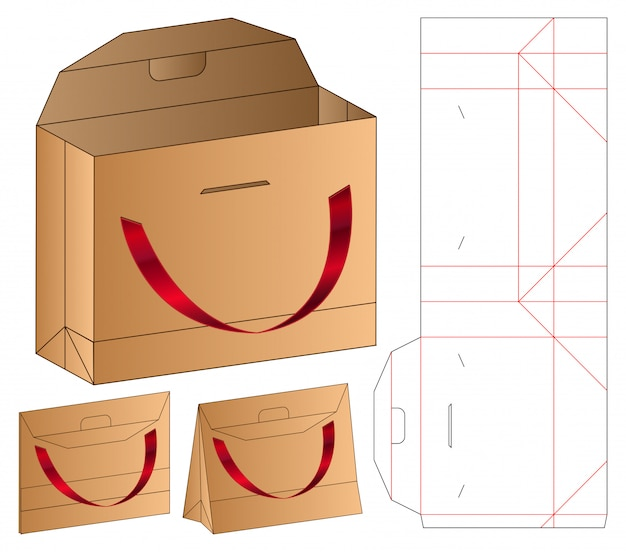Papierowa Torba Pakuje Matrycuje Cięcie Szablon 3d Premium Wektorów