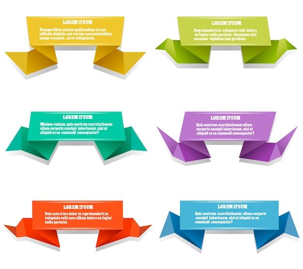 Papierowe Banery Origami. Zestaw Kolorowych Origami Z Miejscem Na Test. Ilustracji Wektorowych Darmowych Wektorów