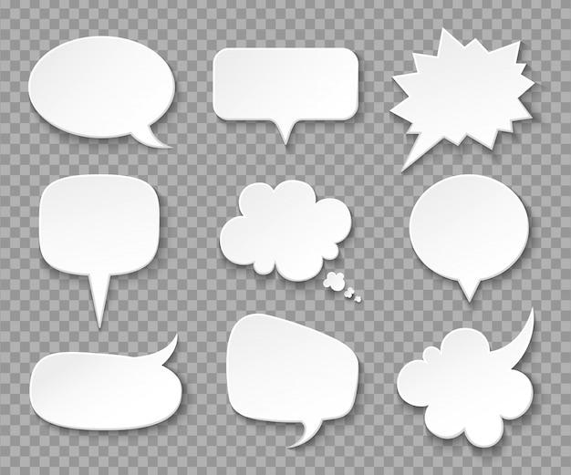 Papierowe Dymki. Białe Puste Balony Myśli, Krzyczące Pudełko. Vintage Zestaw Bańka Wyrażenie Mowy I Myślenia Premium Wektorów
