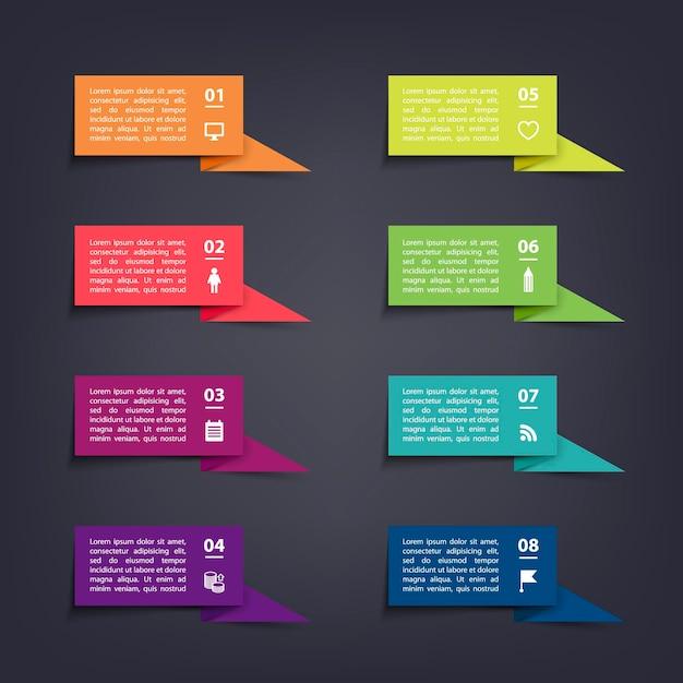 Papierowe Naklejki I Etykiety Z Flagami Z Realistycznymi Cieniami Do Zestawu Infograficznego Premium Wektorów