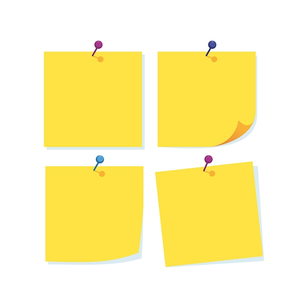 Papierowe notatki z igłą w różnych kolorach Premium Wektorów