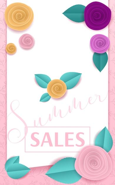 Papierowe róże różowy sztandar letnia sprzedaż Premium Wektorów