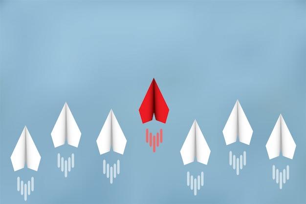 Papierowe samoloty konkurują z miejscami docelowymi. przywództwo. biznesowe koncepcje finansowe konkurują o sukces i cele korporacyjne. istnieje duża konkurencja. rozpocząć Premium Wektorów