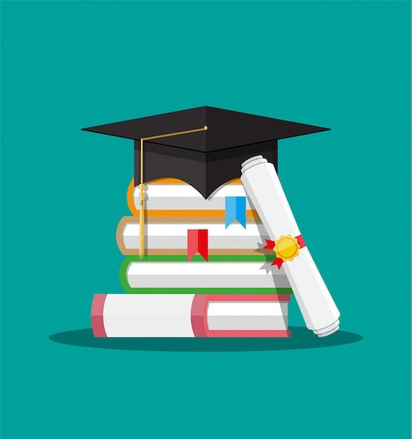 Papierowy Dyplom Z Pieczęcią, Książkami I Czapką Premium Wektorów