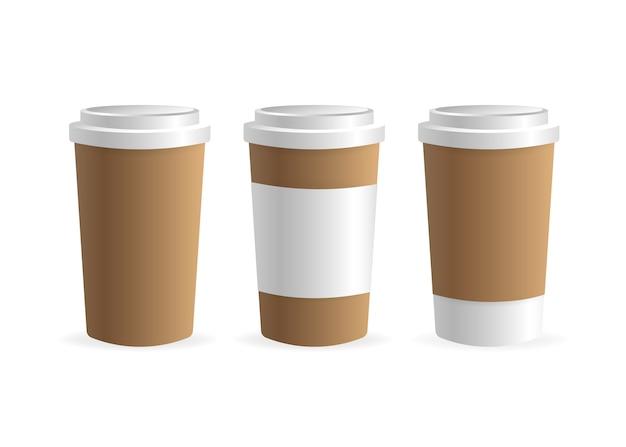 Papierowy Kubek Kawy Na Białym Tle. Puste. , Szablon. Napój Kawowy. Premium Wektorów