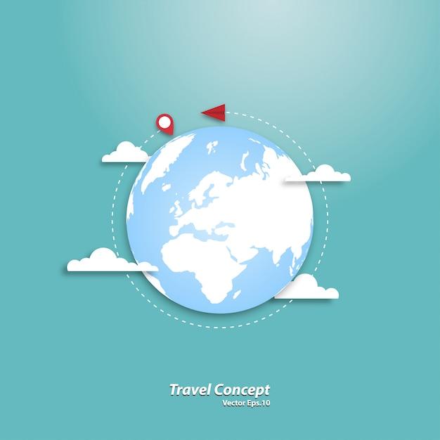 Papierowy Samolot Latający Po Całym świecie Premium Wektorów