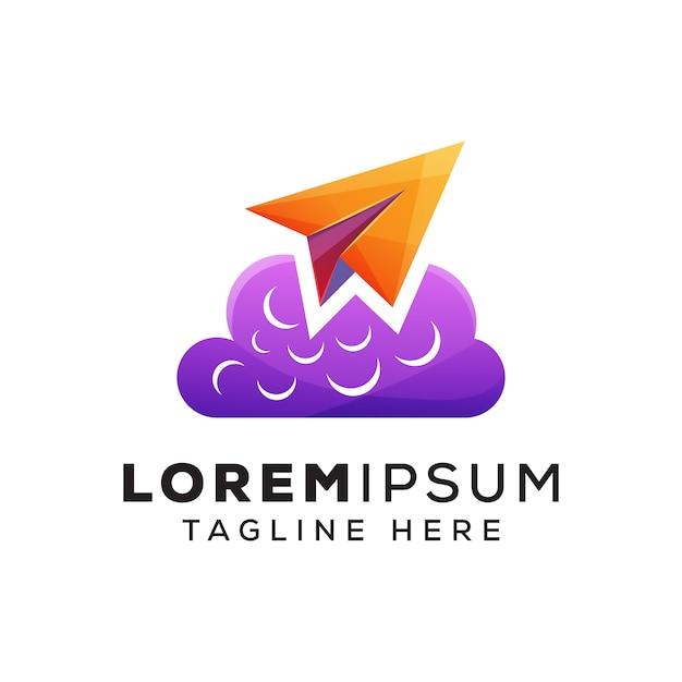 Papierowy samolot z logo lub logotypem koncepcji chmury Premium Wektorów
