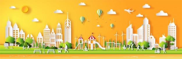 Papierowy Styl Z Zielonego Miasta, Ludzie Cieszą Się świeżym Powietrzem W Parku. Premium Wektorów