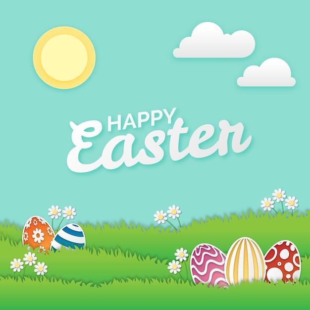 Papierowy Stylowy Szczęśliwy Wielkanocny Dzień Na Trawie Z Słońcem Premium Wektorów