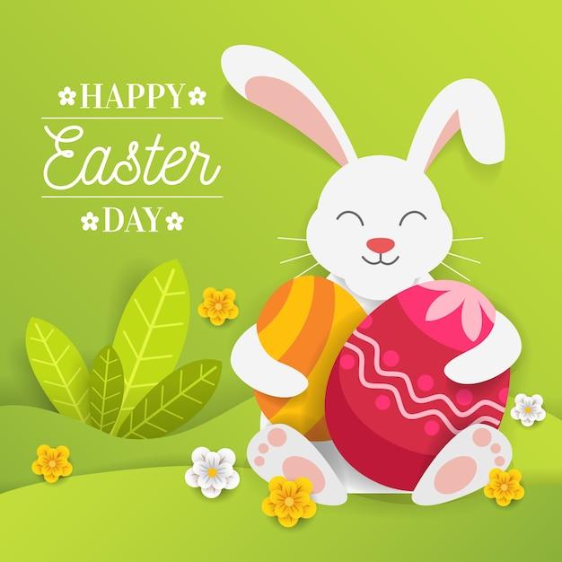 Papierowy Stylowy Szczęśliwy Wielkanocny Dzień Z Królików Przytulenia Jajkami Darmowych Wektorów