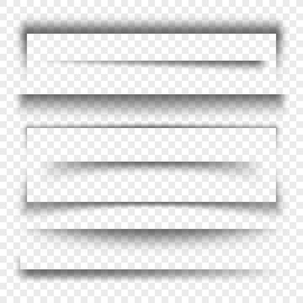 Papierowy Transparent I Przekładki Realistyczny Efekt 3d Przezroczysty Cień, Kolekcja Premium Wektorów