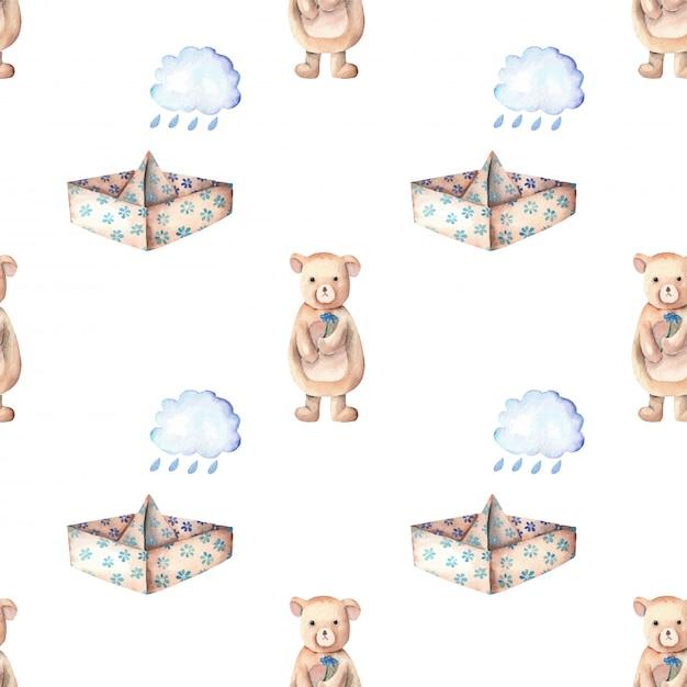 Papierowych łodzi podeszczowe chmury i śliczny niedźwiadkowy bezszwowy wzór Premium Wektorów