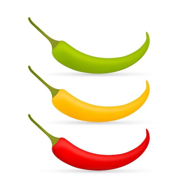 Papryczka Chili Wektor Zestaw Na Białym Tle. Czerwony, żółty I Zielony Premium Wektorów