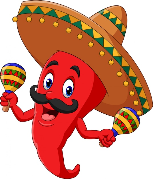 Papryka chili kreskówka gra marakasy Premium Wektorów