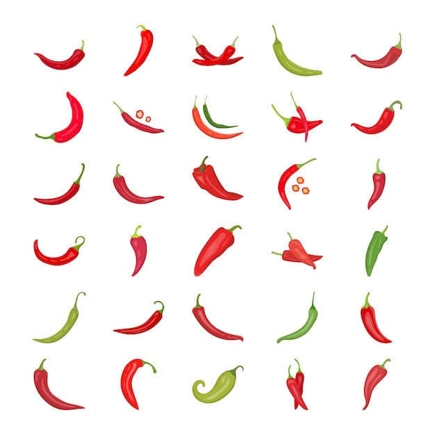 Papryka Chili Płaskie Ikony Premium Wektorów