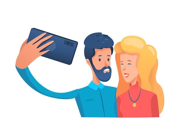 Para Biorąc Zdjęcie Selfie Premium Wektorów