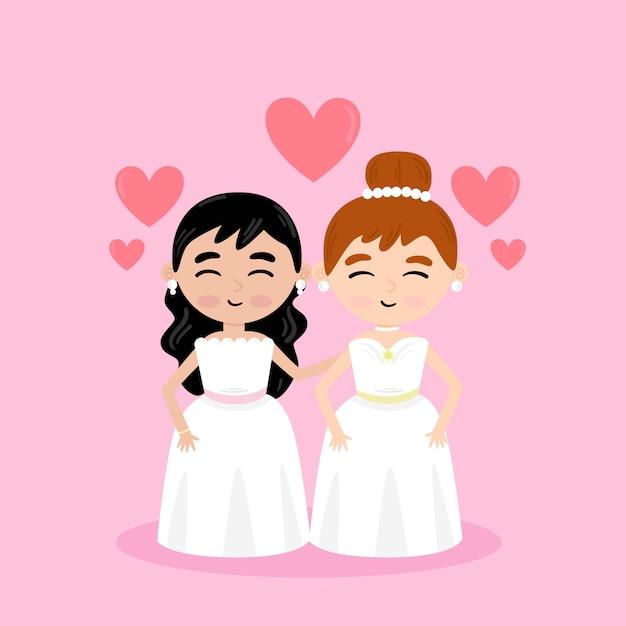 Para Gejów ślubu Darmowych Wektorów