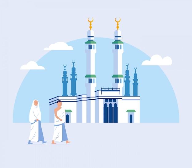 Para hajj pielgrzymka spacer do wielkiego meczetu w mekce Premium Wektorów