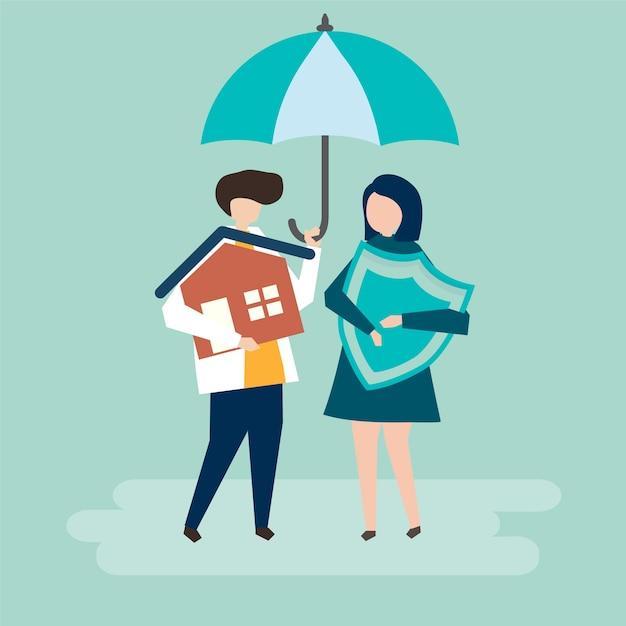 Para i dom ilustracja koncepcja ubezpieczenia Darmowych Wektorów
