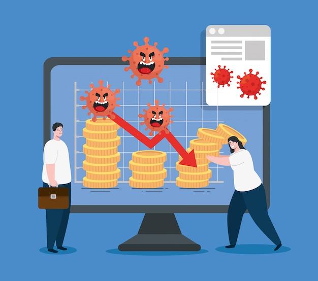 Para I Komputer Z Ikonami Wpływu Ekonomicznego Autorstwa Covid 2019 Darmowych Wektorów