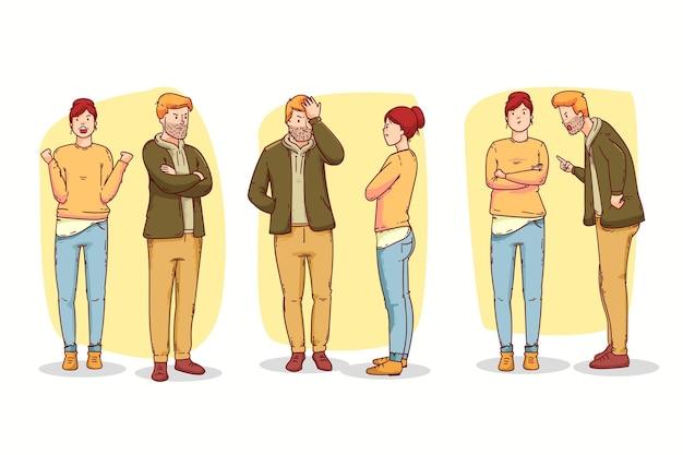 Para Ilustracja Konflikty Zestaw Darmowych Wektorów