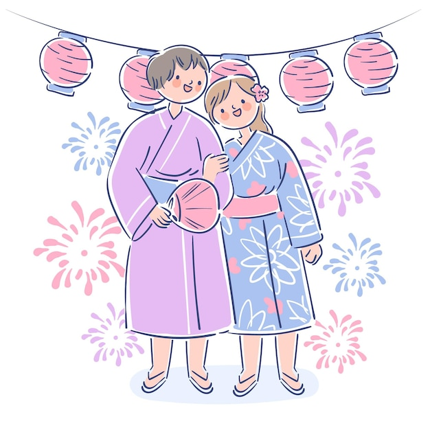 Para Korzystających Z Letniego Festiwalu Matsuri Darmowych Wektorów