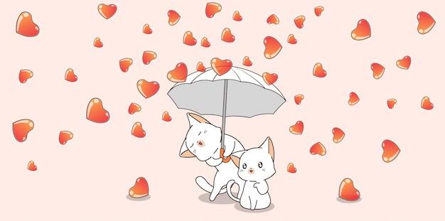 Para Kot Postać Trzyma Parasol Z Serca W Walentynki Premium Wektorów